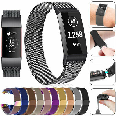 For Fitbit Charge 3 Stainless Steel Metal Loop Watch Band Magnetic Strap