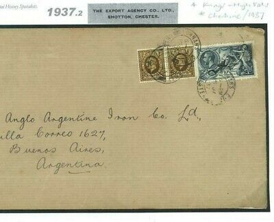 GB 10s SEAHORSE Cover DOCK SHOTTON Ches KGV High Value ARGENTINA AIR MAIL 1937.2
