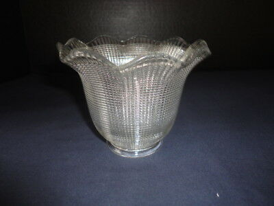 """Antique/Vintage Clear Glass Fully Beaded Ruffled Light Lamp Shade Globe 2""""Fitter"""