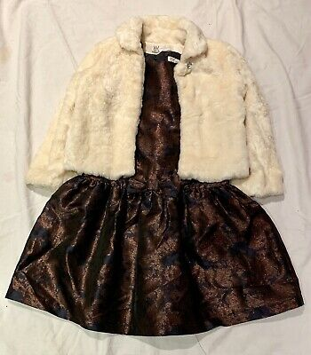 Marylebone Of London Exquisite Bronze Party Dress With Ivory Fluffy Jacket