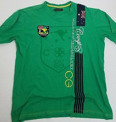Authentic COOGI Green Embellished T-shirt with England Flag Patches AUS 3XL