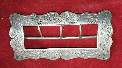 Engraved antique late Victorian hallmarked sterling silver belt buckle