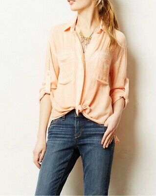 ca969f1be05c Cloth & Stone Anthropologie Skyscape Button Down Split Back Top Blouse Size  Xs