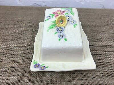 BEAUTIFUL VINTAGE ART DECO 1930s WEATHERBY FALCON WARE HAND PAINTED BUTTER DISH
