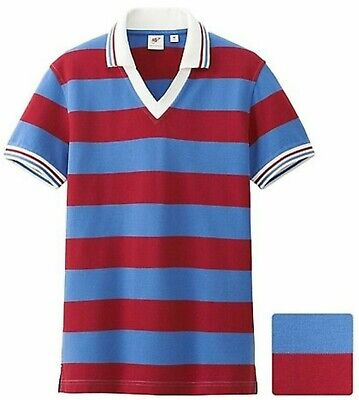 b9971f13 MICHAEL BASTIAN x UNIQLO Rugby Stripe V-Neck Polo Shirt Men's S Red / Blue