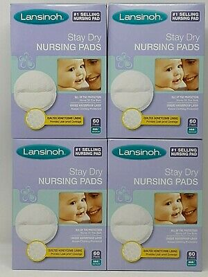 Lansinoh Stay Dry Disposable Nursing Pads, 60 Count (Pack of 4)