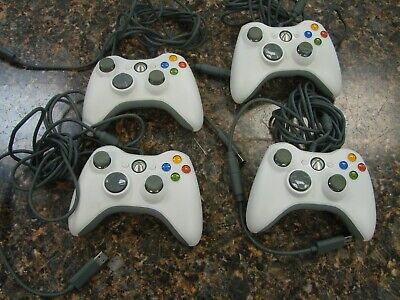 Lot 4x Genuine Microsoft Xbox 360 Wired Game Controller & USB Breakaway Cable