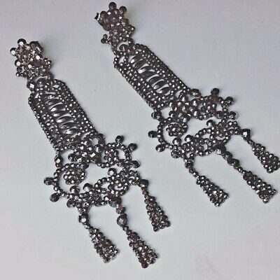 Rare Authentic Georgian Victorian Antique Long 3 inch Cut Steel Riveted Earrings