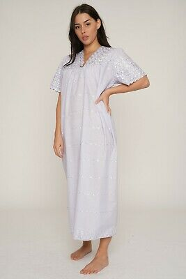 Allover Embroidered(100% Cotton)Nightdress Nightwear Sleepwear Gown Robe Nighty