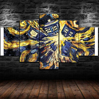 Framed Doctor Who Vincent Van Gogh Painting 5 Piece Canvas Home Decor Wall Art
