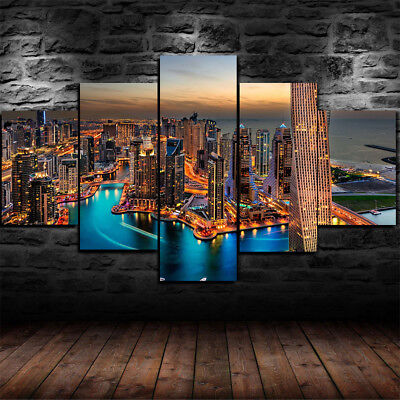 Dubai City Burj Khalifa skyline tile Painting 5 Piece Canvas Home Decor Wall Art