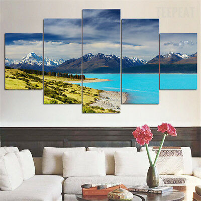 Lake Pukaki New Zealand Snow Mountains 5 Piece Canvas Home Decor Wall Art Decor