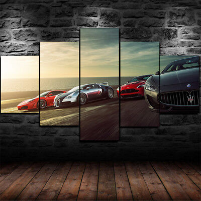 Framed Super Sports Cars Ferrari Bugatti Race 5Piece Canvas Print Wall Art Decor