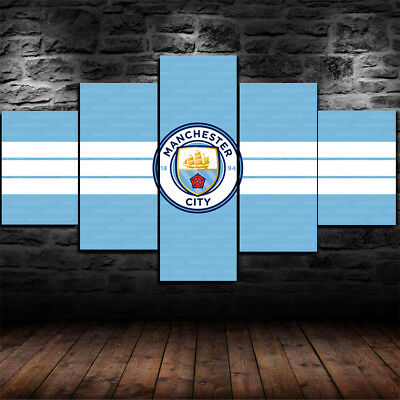 Framed Manchester City F.C Canvas Print Wall Art Home 5 Piece