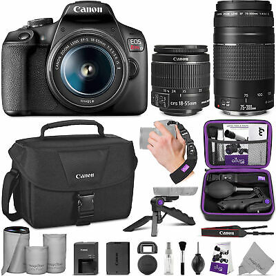 Canon EOS Rebel T7 DSLR with Canon EF-S 18-55mm + Canon EF 75-300mm With Bundle