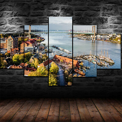 Large Framed Gothenburg Sweden 5 Piece Canvas Home Decor Wall Art Decor