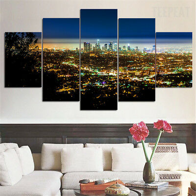 Framed Los Angeles Cityscape Night 5 Piece Canvas Wall Art Home Decor