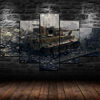 Tiger I World War 2 Tank Painting Poster Canvas Print Wall Art Decor 5 Piece