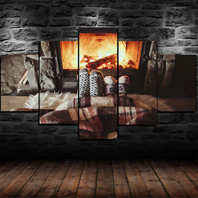 Framed Cozy Family Home Couple Fire Place Canvas Print Wall Art Home 5 Piece