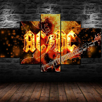 Framed ANGUS YOUNG AC DC ACDC Rock Band Canvas Print Wall Art Home Decor 5 Piece