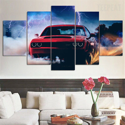 Large Framed Dodge Challenger SRT Demon 5 Piece Canvas Home Decor Wall Art