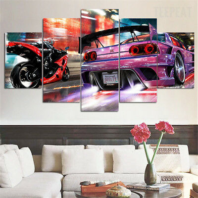 Framed Bike Vs Car Race Neon Motorcycle 5 Piece Canvas Print Wall Art Decor