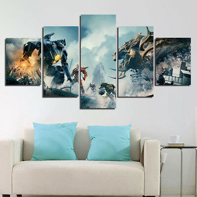 Framed Pacific Rim Uprising Movie paint Wall Art Home 5 Piece Canvas