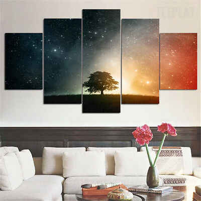 Framed Starry Night Tree Sky Stars 5 Piece Canvas Print Wall Art Home Decor
