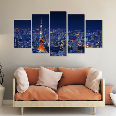 Framed Tokyo Tower 5 Piece Canvas Print Wall Art Home Decor