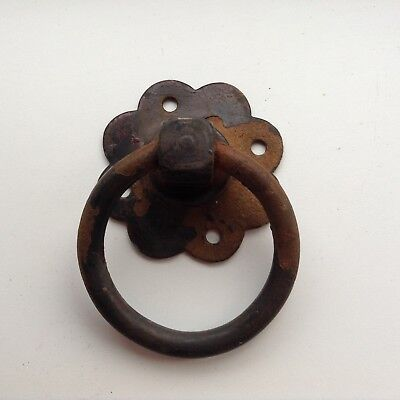 Vintage Reclaimed Cast Iron Door / Gate Ring Pull Petal Backplate Fantastic!!