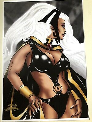 "Storm Neal Adams SIGNED X-Men Art 13""x19"" Print Marvel Comic Collectible"