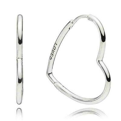 Genuine Pandora Sterling Silver Asymmetric Hearts of Love Hoop Earrings - 297847