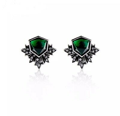 Green Silver  Crystal Stud Earrings vintage style victorian Gift UK