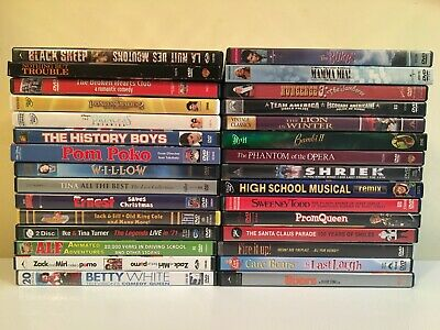 Wholesale Lot of 30 Used Assorted Bulk DVD No Duplicates incl. covers and cases