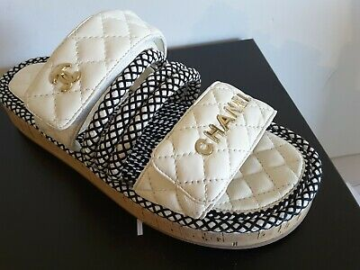 0bee88ee4 NIB CHANEL Ivory Black Spring - summer 2019 Collection Cord Mules Sandals