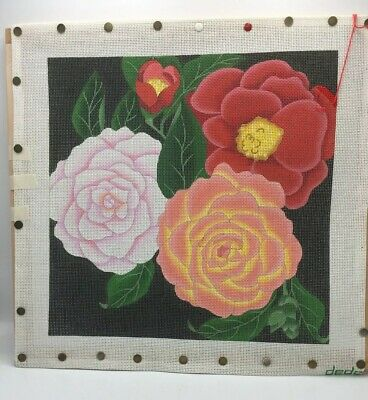 Rare Dede Hand Painted Needlepoint Canvas Flower #1151 Floral 13/14 Mesh