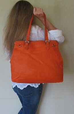 039c33e058fe67 $1880. genuine PRADA Italy SHOULDER PURSE Orange LEATHER COUTURE Large  COUTURE