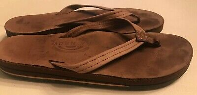 37bafd87f99f Rainbow Sandals Double Layer Leather Brown Narrow Strap Flip Flops Size 7