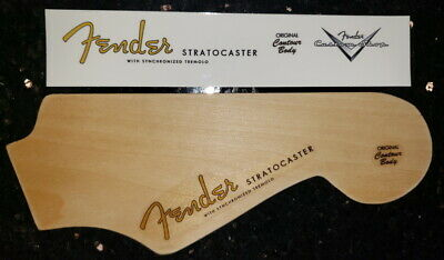 Fender Stratocaster spaghetti and custom shop headstock logo waterslide decal