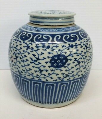 Chinese Blue and White Porcelain Ginger Jar Lidded