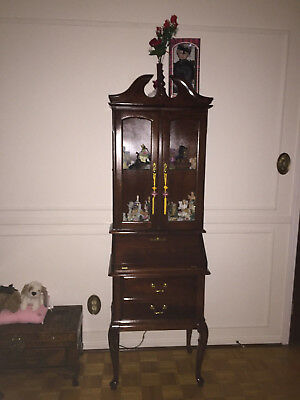 Beautiful French Provincial Curio Cabinet With Pull Out Writing Desk And Lit She