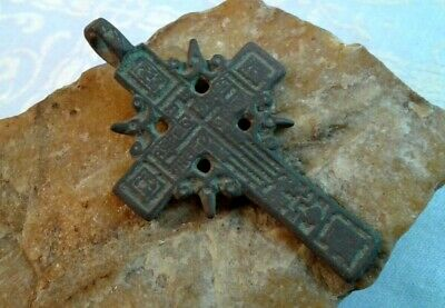 "ANTIQUE c. 18-19th CENTURY LARGE ORTHODOX ""OLD BELIEVERS"" ORNATE ""SUN"" CROSS"