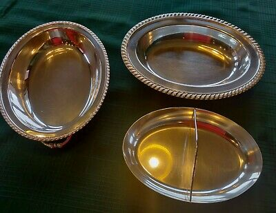 The Sheffield Co. 3pc Oval Silver Plated Side Dish Serving Platter, Insert & Lid