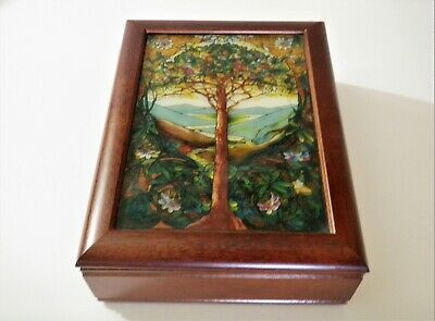 Glassmasters Stained Glass & Wooden Box - Tiffany Tree of Life