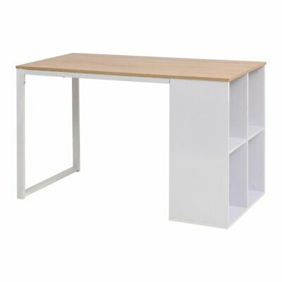 vidaXL Writing Desk Oak and White Home Office Study Drawing Computer Table