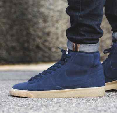 765f30cfa3de Size 7 Youth Nike Boys Blue Blazer Suede Mid Premium Lifestyle High Top  Sneaker