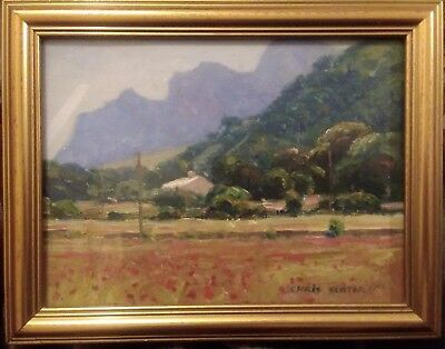 Framed Oil on Board Painting of a Landscape with Poppies Signed Chris Slater