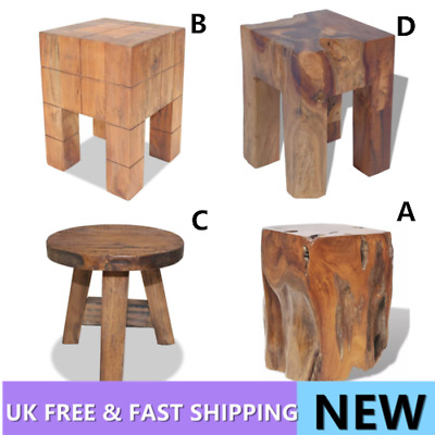 Rustic Stool Seat Side Table Furniture Solid Reclaimed / Teak End Handmade Home