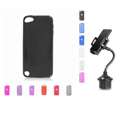 For iPod Touch 5th Gen Case TPU Rubber Slim Thin Cover + Cup Mount