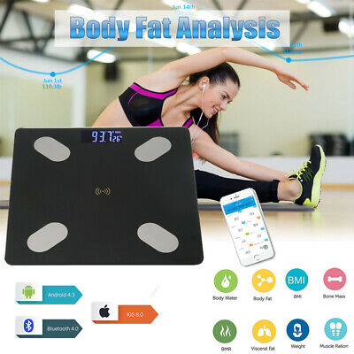 Bluetooth Bathroom 180KG Body Fat Scales BMI Bone LCD Weighing Scale iOS Android